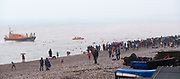 With the Exmouth RNLI in attendance, participants take part in the Christmas Day swim at Budleigh Salterton on Wednesday 25th December 2018.