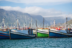 January 4, 2018 - Cape Town, Western Cape, South Africa - Colorful boats docked in the water in Hout Bay in Cape Town, South Africa (Credit Image: © Edwin Remsberg / Vwpics/VW Pics via ZUMA Wire)