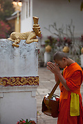 At Wat Xieng Thong Buddhist temple complex after morning Tak Bat (making merit). Luang Prabang, Laos