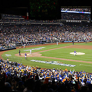 Pitcher Matt Harvey, pitching to Mike Moustakas, Kansas City Royals, during the New York Mets Vs Kansas City Royals, Game 5 of the MLB World Series at Citi Field, Queens, New York. USA. 1st November 2015. Photo Tim Clayton