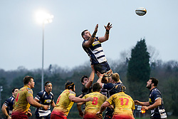 Bristol Rugby Number 8 James Phillips wins a lineout - Mandatory byline: Rogan Thomson/JMP - 17/01/2016 - RUGBY UNION - Clifton Rugby Club - Bristol, England - Scarlets Premiership Select XV v Bristol Rugby - B&I Cup.