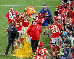 February 2, 2020, Miami Gardens, FL, USA: Kansas City Chiefs head coach Andy Reid reacts as players shower him on the sidelines at the conclusion of a 31-20 win against the San Francisco 49ers in Super Bowl LIV at Hard Rock Stadium in Miami Gardens, Fla., on Sunday, Feb. 2, 2020. (Credit Image: © TNS via ZUMA Wire)