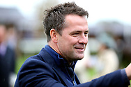 Former International & Professional Footballer MICHAEL OWEN, one of the Owners The Famous Five Partnership watches his horse BLYTON enter the Winners Enclosure after winning The TSG Keeping IT Real Handicap Stakes over 5f (£15,000) during the Countryside Raceday, October Finale at York Racecourse, York, United Kingdom on 12 October 2018. Pic Mick Atkins