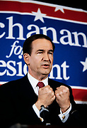 1992 Republican Presidential candidate Pat Buchanan speaks at a campaign rally in Marietta, Georgia.
