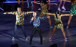 Anthony Callea performs on stage during the Closing Ceremony for the 2018 Commonwealth Games at the Carrara Stadium in the Gold Coast, Australia. PRESS ASSOCIATION Photo. Picture date: Sunday April 15, 2018. See PA story COMMONWEALTH Ceremony. Photo credit should read: Danny Lawson/PA Wire. RESTRICTIONS: Editorial use only. No commercial use. No video emulation.