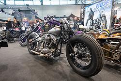 Kustom Garage's 1979 Harley-Davidson Shovelhead in the LowRide Magazine's bike show at Motor Bike Expo (MBE) bike show. Verona, Italy. Saturday, January 18, 2020. Photography ©2020 Michael Lichter.