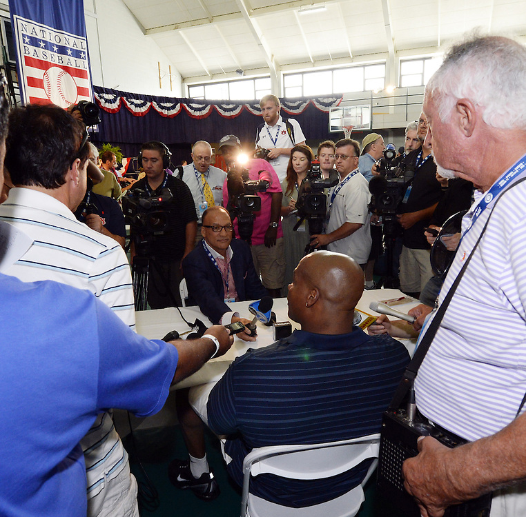 COOPERSTOWN, NY - JULY 26:  2014 Hall of Fame inductee Frank Thomas meets the media during the Hall of Fame inductee press conference in Cooperstown, New York on July 26, 2014.