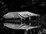 """Maidenhead, United Kingdom. Boat Cover and """"Silhouette Shroud"""", Raymill Island River Thames between Boulters lock <br /> <br /> <br /> Wednesday  23/08/2017<br /> <br /> [Mandatory Credit: Peter SPURRIER/Intersport Images.]<br /> <br /> LEICA DIGILUX 2. ISO 100  f2.4  Lens 22.5mm"""