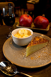 The torta de aceite con helado (olive oil cake with ice cream) dessert at La Marchas Tapas Bar, photographed Wednesday, Jan. 13, 2016, in Berkeley, Calif. (Photo by D. Ross Cameron)