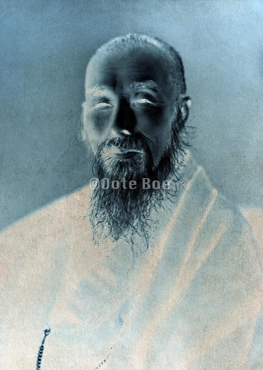 vintage head and shoulders portrait of Japanese monk
