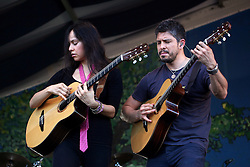 04 May 2012. New Orleans, Louisiana,  USA. .New Orleans Jazz and Heritage Festival. .Mexican sensations 'Rodrigo and Gabriela' - Rodrigo Sánchez and Gabriela Quintero..Photo; Charlie Varley.