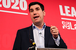 © Licensed to London News Pictures. 16/02/2020. London, UK. Labour Party deputy leadership candidate RICHARD BURGON MP for Leeds East and Shadow Secretary of State for Justice and Shadow Lord Chancellor speaks at a hustings event hosted by the Co-operative Party held at Business Design Centre, north London. Photo credit: Dinendra Haria/LNP