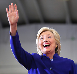 Democratic presidential nominee Hillary Clinton responds to cheering supporters as she takes the stage for her rally Wednesday, September 21, 2016 in Orlando, FL, USA. Photo by Joe Burbank/Orlando Sentinel/TNS/ABACAPRESS.COM
