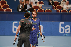 February 10, 2018 - Sofia, Bulgaria - Robin Haase and Matwe Middelkoop of Netherlands  celebrates their win point. Robin Haase and Matwe Middelkoop of Netherlands win their 1/ 2 final match over Divij Sharan(India) and Scott Lipsky(USA) 64 62, during DIEMAXTRA Sofia Open 2018 in Arena Armeec Hall in Sofia, Bulgaria on February 10, 2018  (Credit Image: © Hristo Rusev/NurPhoto via ZUMA Press)