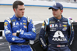 May 6, 2018 - Dover, Delaware, United States of America - Alex Bowman (88) and William Byron (24) hang out on pit road during a rain delay for the AAA 400 Drive for Autism at Dover International Speedway in Dover, Delaware. (Credit Image: © Chris Owens Asp Inc/ASP via ZUMA Wire)