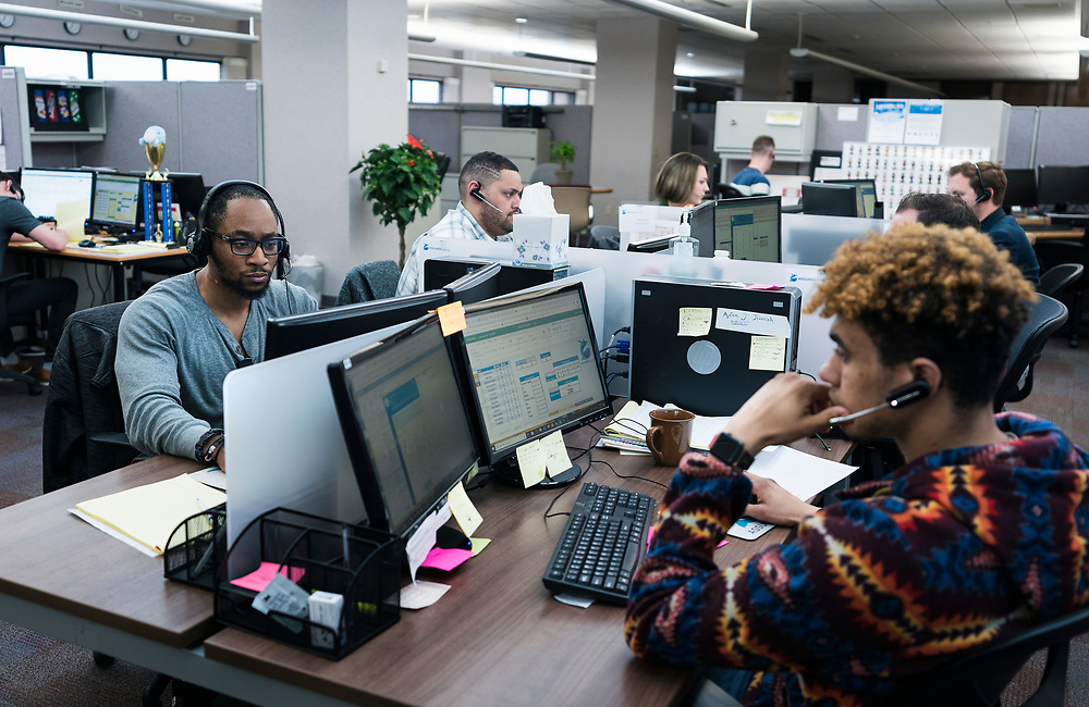AssuredLeads employees at work on the 6th floor of the former Oscar Mayer headquarters building in Madison, WI on Friday, May 17, 2019.