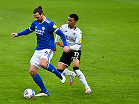 Football - 2020 / 2021 Sky Bet Championship - Swansea City vs Cardiff City - Liberty Stadium<br /> <br /> Sean Morrison Cardiff City  & Morgan Whittaker Swansea Cityin the South Wales local derby match<br /> <br /> COLORSPORT/WINSTON BYNORTH