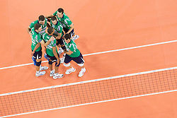 15-01-2013 VOLLEYBAL: CHAMPIONS LEAGUE ACH VOLLEY - CUNEO: LJUBLJANA<br /> Players of Cuneo celebrate with Nimir Abdelaziz during volleyball match between ACH Volley Ljubljana and Bre Banca Lannutti Cuneo (ITA) in Playoff 12 game of CEV Champions League<br /> ***NETHERLANDS ONLY***<br /> ©2013-FotoHoogendoorn.nL