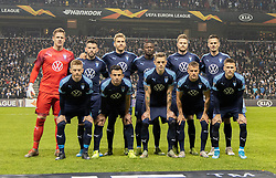 Malmö FF's hold før kampen i UEFA Europa League mellem FC København og Malmö FF den 12. december 2019 i Telia Parken (Foto: Claus Birch).