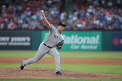 May 23, 2018 - Arlington, TX, U.S. - ARLINGTON, TX - MAY 23: New York Yankees pitcher Jonathan Holder (56) throws to the plate during the game between the New York Yankees and the Texas Rangers on May 23, 2018 at Globe Life Park in Arlington, TX. (Photo by George Walker/Icon Sportswire) (Credit Image: © George Walker/Icon SMI via ZUMA Press)