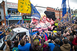 © Licensed to London News Pictures . 01/10/2017. Manchester, UK. Brexit is a monstrosity  float . Thousands of people take part in an anti Brexit pro EU demonstration at All Saints Park in Manchester during the Conservative Party Conference , which is taking place at the Manchester Central Convention Centre . Photo credit: Joel Goodman/LNP