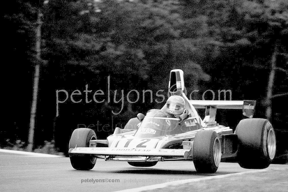 "Niki Lauda ""flies"" Ferrari over Pflanzgarten jump at Nurburgring in 1974 German GP"