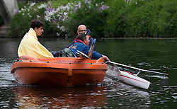 © Licensed to London News Pictures.13/06/15<br /> Durham, England<br /> <br /> A rower who collided and capsized with another boat is taken to shore by a rescue boat during the 182nd Durham Regatta rowing event held on the River Wear. The origins of the regatta date back  to commemorations marking victory at the Battle of Waterloo in 1815. This is the second oldest event of this type in the country and attracts over 2000 competitors from across the country.<br /> <br /> Photo credit : Ian Forsyth/LNP