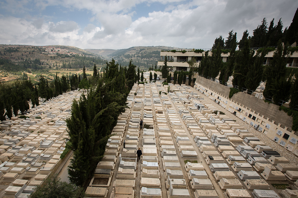 Multi-level graves including above ground burial plots are seen at the Givat Shaul cemetery, in Jerusalem, Israel, on May 14, 2015.