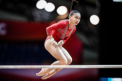 October 28, 2018 - Doha, Quatar - Yile Chen of China   during  Uneven Bars qualification at the Aspire Dome in Doha, Qatar, Artistic FIG Gymnastics World Championships on 28 of October 2018. (Credit Image: © Ulrik Pedersen/NurPhoto via ZUMA Press)