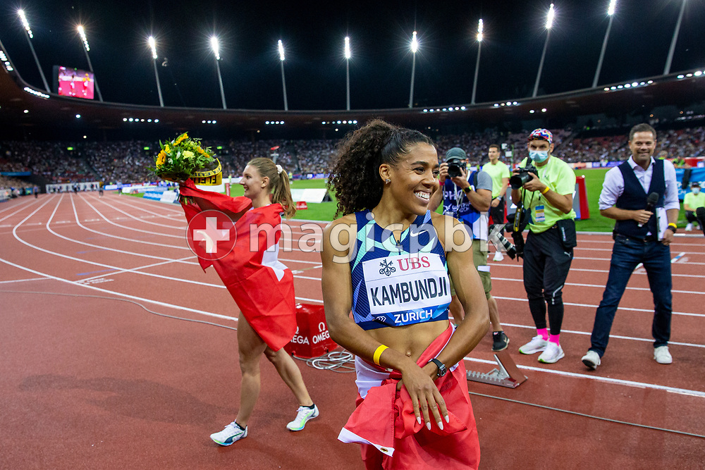 (R-L) Fifth placed Mujinga Kambundji and third placed Ajla Del Ponte of Switzerland react after competing in the women's 100m during the Iaaf Diamond League meeting (Weltklasse Zuerich) at the Letzigrund Stadium in Zurich, Switzerland, Thursday, Sept. 9, 2021. (Photo by Patrick B. Kraemer / MAGICPBK)