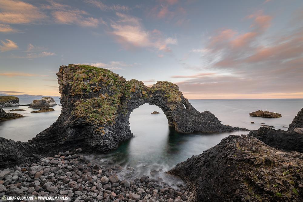 Arnarstapi rock in west-Iceland.