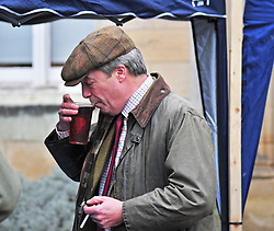 © Licensed to London News Pictures. 26/12/2018. Chiddingstone, UK.Nigel Farage enjoying an early beer, Old Surrey Burstow and West Kent Boxing day Hunt meet at Chiddingstone Castle,Chiddingstone. Photo credit: Grant Falvey/LNP