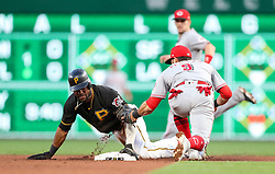 Jun 15, 2018; Pittsburgh, PA, USA; Pittsburgh Pirates center fielder Starling Marte (6) is tagged out by Cincinnati Reds second baseman Jose Peraza (9) after attempting to steal second base during the fourth inning at PNC Park. Mandatory Credit: Ben Queen-USA TODAY Sports