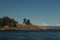 Private Home and Mt. Baker at Obstruction Pass, Orcas Island, San Juan Islands, Washington, US