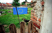 Czech garden still-life decorated for Czech EU membership celebration. Prague - Horni Pocernice