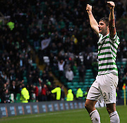 16.03.2013 Glasgow, Scotland. Charlie Mulgrew salutes the Celtic fans during the Clydesdale Bank Premier League match between, Celtic and Aberdeen, from Celtic Park Stadium.