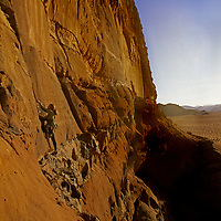 Lisa Gnade ascends the west face of Jebel (mount) Khaz Ali in the Wadi Rum, Jordan.