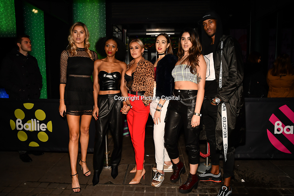 Lilly Douse, Tonique Campbell, Frankie Maddin, Chloe Adlerstein,  Claudia Sowaha and Stefan Pierre attend Bachelor girls wrap party after Channel 5 serial of The Bachelor girls 2019 UK  17 desperate female complete to win Alex Marks. Five Eliminated girls continues enjoy the single life party at Balle Ballerson in fact, in the UK there are 1.1 millions female more than male on 27 March 2019, London, UK.