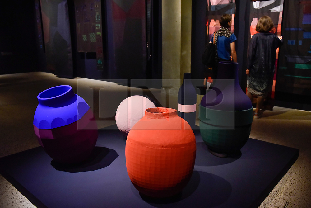 """© Licensed to London News Pictures. 27/06/2017. London, UK. """"Colour Catchers"""" in evening light.  Preview of """"Breathing Colour"""", an exhibition by acclaimed designer Hella Jongerius, at the Design Museum, Kensington which comprises a series of newly commissioned installations exploring humans perceptions and connections to colour.  The exhibition runs from 28 June to 24 September 2017.  Photo credit : Stephen Chung/LNP"""