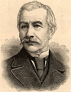 (Henry) Bartle (Edward) Frere (1815-84) British colonial administrator, born at Clydach, Breckonshire, Wales. Governor of Bombay (Mumbai) 1862-1867. Appointed governor of the Cape and High Commissioner in South Africa in 1877, recalled in 1880 because of his treatment of the Zulus. Engraving from  'The Illustrated London News' (London, 7 June 1884).