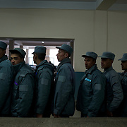 November 14, 2012 - Kabul, Afghanistan: Afghan National Police (ANP) cadets line up for breakfast at the canteen in the Afghan Nacional Police Academy...ANP Academy trains 1250 cadets at the time during a period of four years. Every year, five hundred new recruits are selected, out of more than nine thousand of candidates, to join the academy and other five hundred graduate. Fifteen per cent of the recruits are women. (Paulo Nunes dos Santos/Polaris)