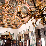 SINTRA, Portugal - The original Grand Hall of the royal residence of Joao I, built at the beginning of the 15th century. During the reign of Manuel I it was designated as the Hall of the Prices. The Palace of Sintra (Palácio Nacional de Sintra) is a mediaeval royal palace in Sintra and part of the UNESCO World Heritage Site that encompasses several sites in and around Sintra, just outside Lisbon. The palace dates to at least the early 15th century and was at its peak during the 15th and 16th centuries. It remains one of the best-preserved royal residences in Portugal.