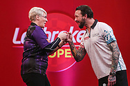 Lisa Ashton wins her first PDC game on television with victory over Aaron Beeney during the Ladbrokes UK Open at Stadium:MK, Milton Keynes, England. UK on 5 March 2021.