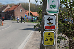 The signs at the bottom of the Eikenberg, the second climb of the Ronde Van Vlaanderen - a 153.2 km road race, starting and finishing in Oudenaarde on April 2, 2017, in East Flanders, Belgium.