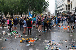 © Licensed to London News Pictures. 18/06/2021. London, UK. Scotland fans gather in Leicester Square before the Euro 2020 fottball match with England. Photo credit: Ray Tang/LNP