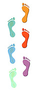 Digitally painted image of a colourful set of footprints on white background