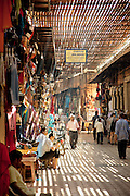 Daily life around the shops of the medina of Marrakech in Morocco
