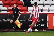 Stevenage midfielder Elliot Osborne (8)  crosses the ball  during the EFL Sky Bet League 2 match between Stevenage and Carlisle United at the Lamex Stadium, Stevenage, England on 20 March 2021.