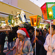 A Christmas procession with a nativity scene carried down the Calle Real (6th Avenue) pedestrian shopping street in downtown Guatemala City at dusk
