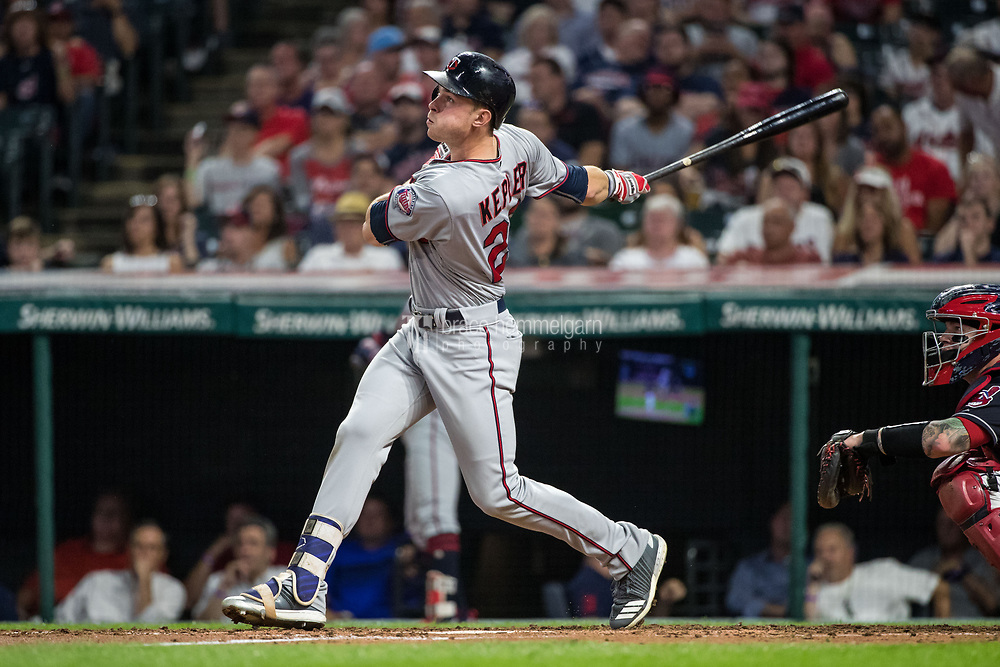 CLEVELAND, OH- SEPTEMBER 26: Max Kepler #26 of the Minnesota Twins bats against the Cleveland Indians on September 26, 2017 at Progressive Field in Cleveland, Ohio. The Twins defeated the Indians 8-6. (Photo by Brace Hemmelgarn) *** Local Caption *** Max Kepler